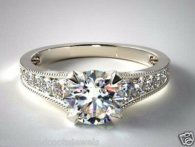 2.00 ct Brilliant Cut Miligrain Diamond Engagement Ring 14kt Solid White Gold