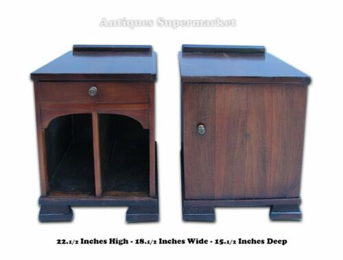 Art Deco Style Pair of Walnut Wood Night Stands # 9265