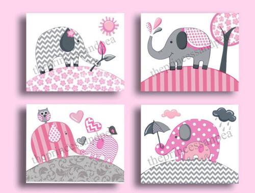 Elephant nursery wall art print elephant chevron bedding decor picture pink gray