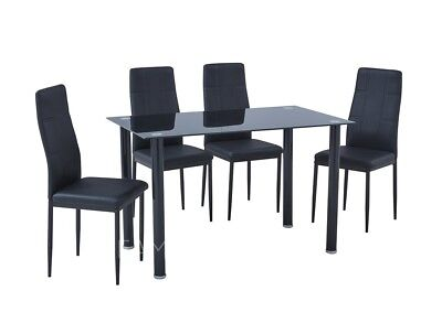 Black Glass Dining Table Set And 4 Black Faux Leather Chairs Furniture  Brand New