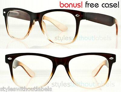 RETRO 80S CLEAR LENS BROWN FRAME NERD GEEK Sm/Med Hipster Glasses Sunglasses (Brown Hipster Glasses)