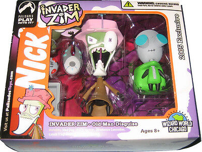 Invader Zim & Gir Figures - Old Man & Doggie Suit Disguise - Palisades Set