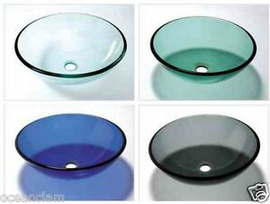 Glass basin sink wash bowl green black blue clear bathroom cloakroom countertop ebay - Glass cloakroom basin ...