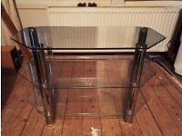 glass 3 tier television stand