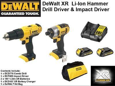 DeWALT Cordless 18v XR Li-ion Impact Driver & Combi Drill Twin Set In Canvas Bag
