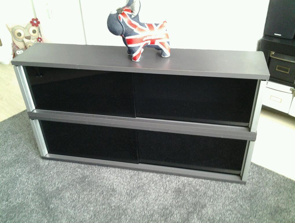Ikea Cd Dvd Storage Cabinets X 2 With Black Glass Sliding Doors