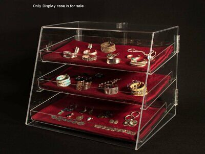 3 Tier Acrylic Jewelry Display Case 21w X 17d X 16.75h Inch With Removable Trays
