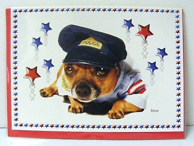 CHIHUAHUA Dog Police Outfit Greeting Cards Blank Inside with Envelope Pack of 5 - Police Dog Outfit