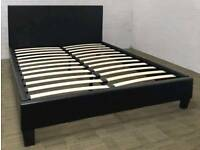 New Black Faux Leather 4ft6 Double Bed Frame Only £110