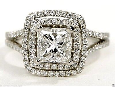 2.25 cts Princess Cut Solitaire Diamond Engagement Ring Solid 14k White Gold