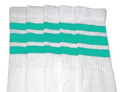 "22"" KNEE HIGH WHITE tube socks with Aqua stripes style 1 (22-153) ](Tube Socks With Stripes)"