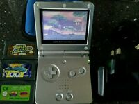 Retro Game boy advance with 3 games  charger  and cover case
