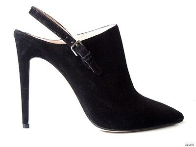 new $690 PRADA MIU MIU black suede pointy toe shoes 39.5 9.5 - RUNWAY