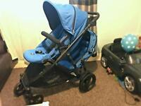 Britax-B Dual Blue Tandem / Double Push Chair / Buggy / Pram