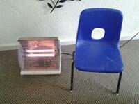 electric fire and chair