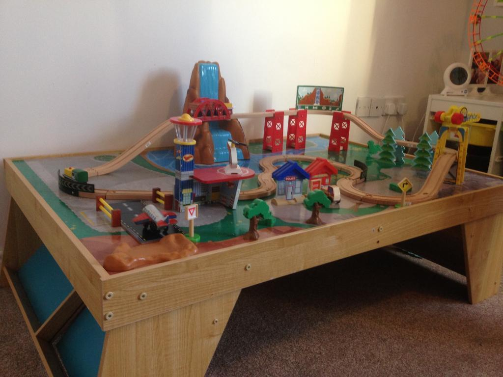 Toy Train Table Play Table Wooden Train Set & Table For Wooden Train Set \u0026 Wooden Train Table Set Sc 1 St ...
