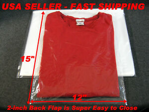 100 lot 12x15 clear poly plastic bags with 2 back flap t for Clear shirt packaging bags
