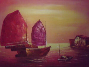 Chinese-Old-Boats-Red-Large-Oil-Painting-Art-Seascape-Ocean-Sea-Ships-Original