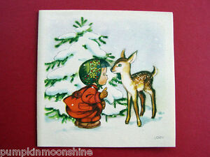 Vintage Unused Ars Sacra Xmas Greeting Card Cute Girl playing with Deer, by Lory