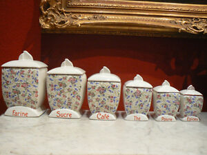 6 anciens pots epices caf th farine poivre sucre en faience decor floral 1930 ebay. Black Bedroom Furniture Sets. Home Design Ideas