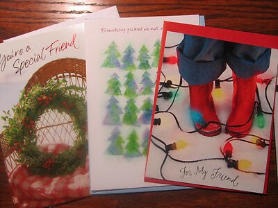 Lot Of 3 Hallmark Christmas Friendship Greeting Cards W Envelopes