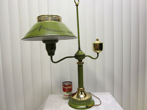 Vintage-Green-Black-Toleware-Metal-Table-Student-Lamp-Tole