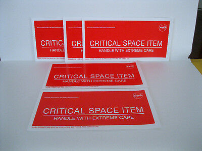 """New Lot of 10 NASA Critical Space Item Adhesive Label Labels 8"""" x 4"""""""