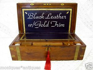 ANTIQUE-ROSEWOOD-WRITING-SLOPE-BOX-w-SECRET-DRAWERS-KEY