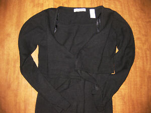 CHRISTIE-BROOKS-youth-small-black-sweater-size-7-8-longsleeves-open-neck