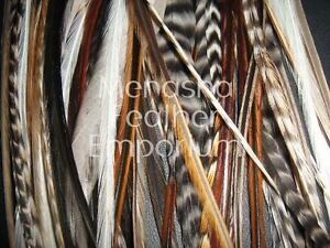 50 W/FLUFF NATURAL GRIZZLY WHITING / Saddle Feather hair extensions WHOLESALE