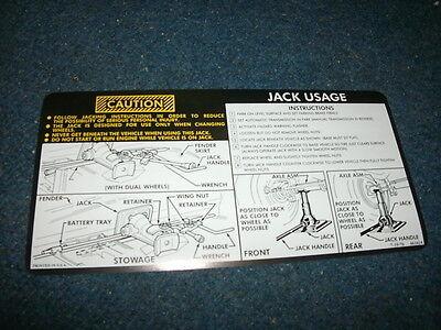 1977 1978 Chevrolet Suburban / Truck 4 Wheel Drive Jack Instructions Decal