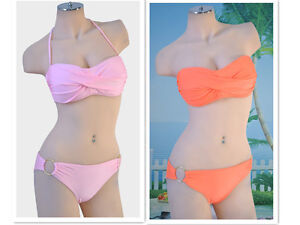 Women-Lady-Halter-Twist-Bandeau-Bathingsuit-Padded-Bra-Low-Rise-Bikini-Swimwear