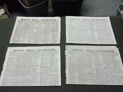 (1819 BOSTON DAILY ADVERTISER NEWSPAPER LOT OF 4 DIFFERENT - NP 1478)
