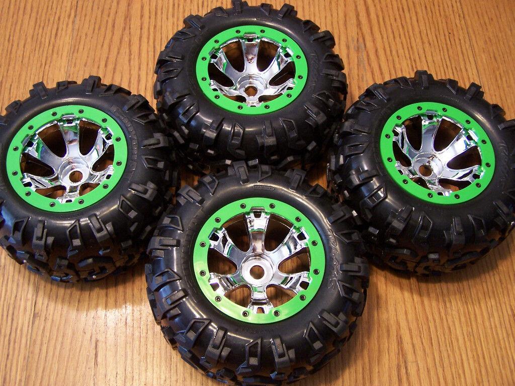 Traxxas Summit Canyon Tires & 17mm Geode Wheels Green Chrome 17 Mm E-revo T-maxx