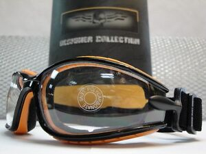 MOTORCYCLE-BIKER-Day-Night-RIDING-CLEAR-LENS-GLASSES-GOGGLES-Black-Orange-Frame