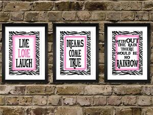 3 Hot pink and Zebra print live love laugh quote wall decor art girls room