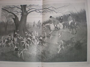 Up A Tree from George Wright 1908 old fox hunting print