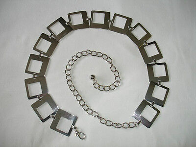 Hollow Big Hollow Square Silver Metal Chain Belt One Size Free Style