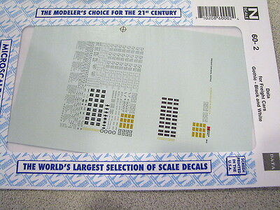 Microscale Decal #60-02 Data Freight Cars Gothic Black & White