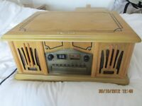 Antique style system - turntable with FM/AM radio, cassette and CD player