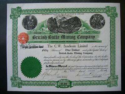 Historische Wertpapier British Butte Mining Company