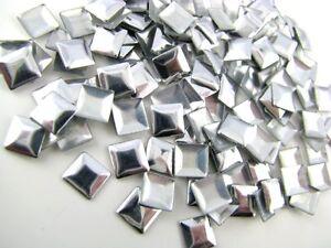 100 Hotfix Nailheads Metall-Bügel-Nieten Viereck zum Aufbügeln 3mm silber