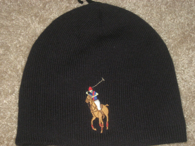 POLO RALPH LAUREN POLO MENS MERINO WOOL BIG PONY NAVY HAT SKULL BEANIE NWT