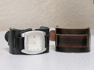 Handmade-Wide-Leather-Cuff-Watch-Band-Black-CS