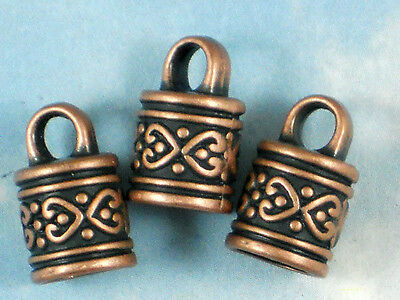 10 Celtic Heart End Caps Copper Tone Kumihimo Terminators Cord Tip Glue on #P042
