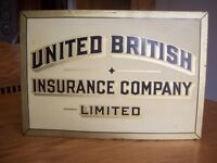 Antique metal insurance advertizing sign