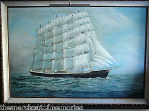 VINTAGE-1890s-Museum-Framed-Oil-Painting-Ship-at-Sea-FREDERICK-FALKNER