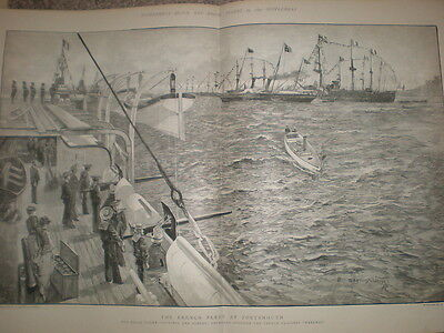 The French Navy Fleet at Portsmouth 1891 old large print H Seppings Wright