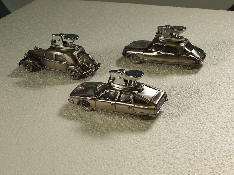 Citroen Table Lighters >> RARE set of 3  (CX + DS21 + Traction Avant 15-Six) <<