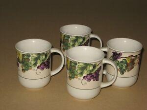 Oneida Casual Settings Cups-Grapevine Pattern x4